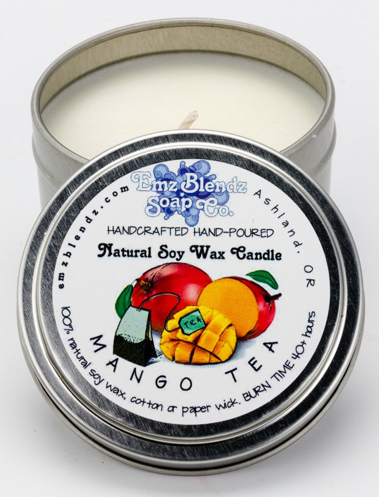 Mango Tea | Soy Wax Travel Candle in Tin - Emz Blendz