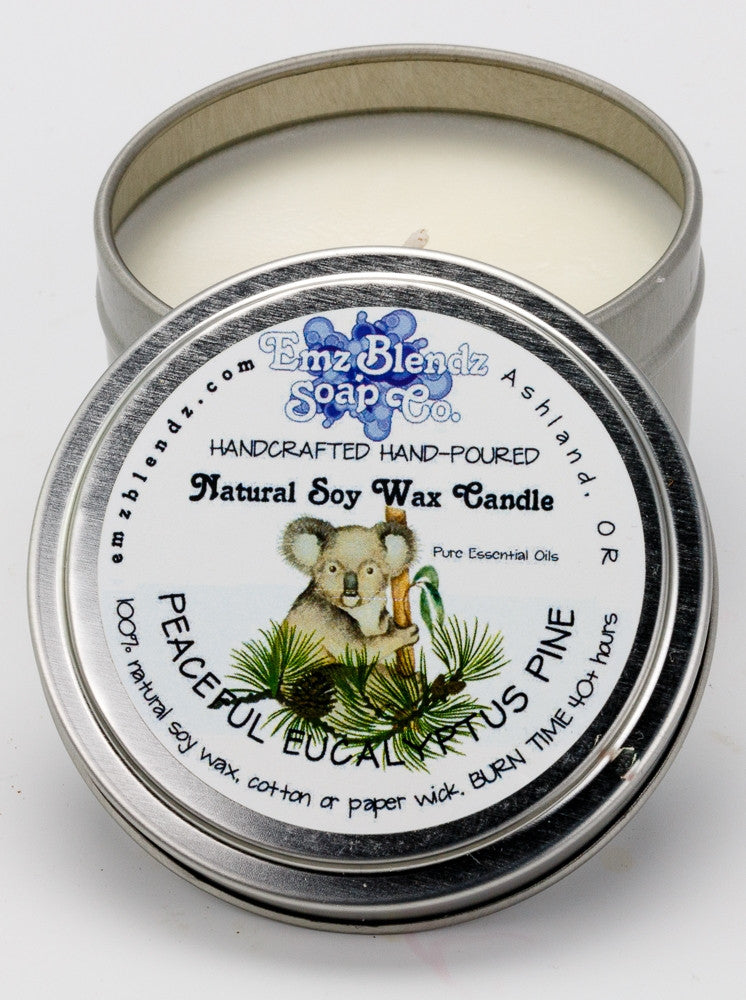 Peaceful Eucalyptus Pine | Soy Wax Travel Candle in Tin - Emz Blendz