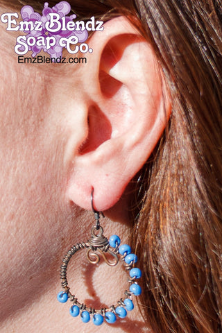 Turquoise Copper Wrapped Hoop Earrings - Emz Blendz