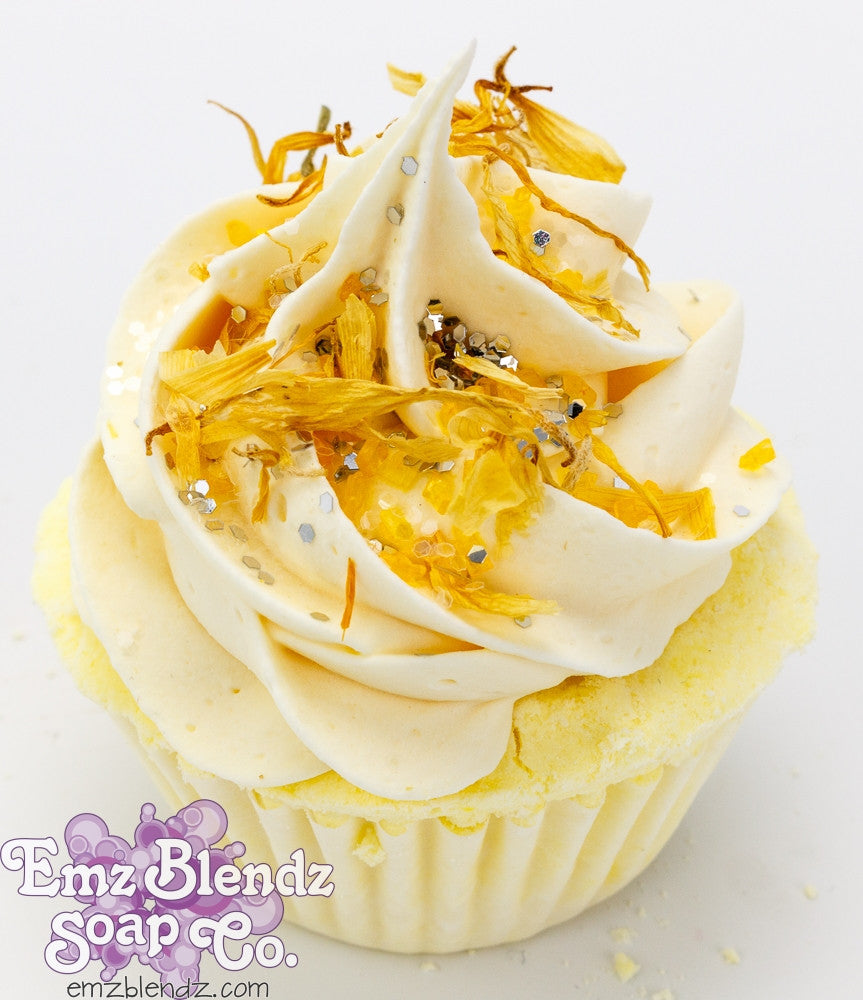 Lemon Cream & Calendula | Foaming Tub Cake - Emz Blendz