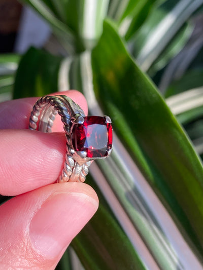 Brilliant Red Garnet & Fine Silver Hearts Stack Ring Set, 2.25cts