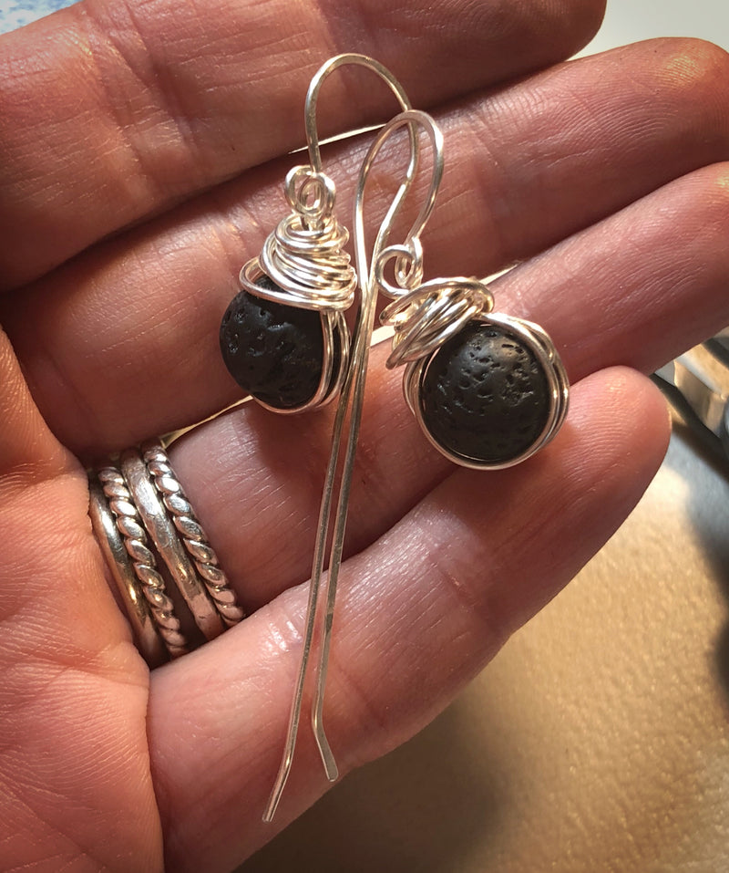 Lava Stone Earrings | Personal Aromatherapy Diffuser Earrings - Emz Blendz