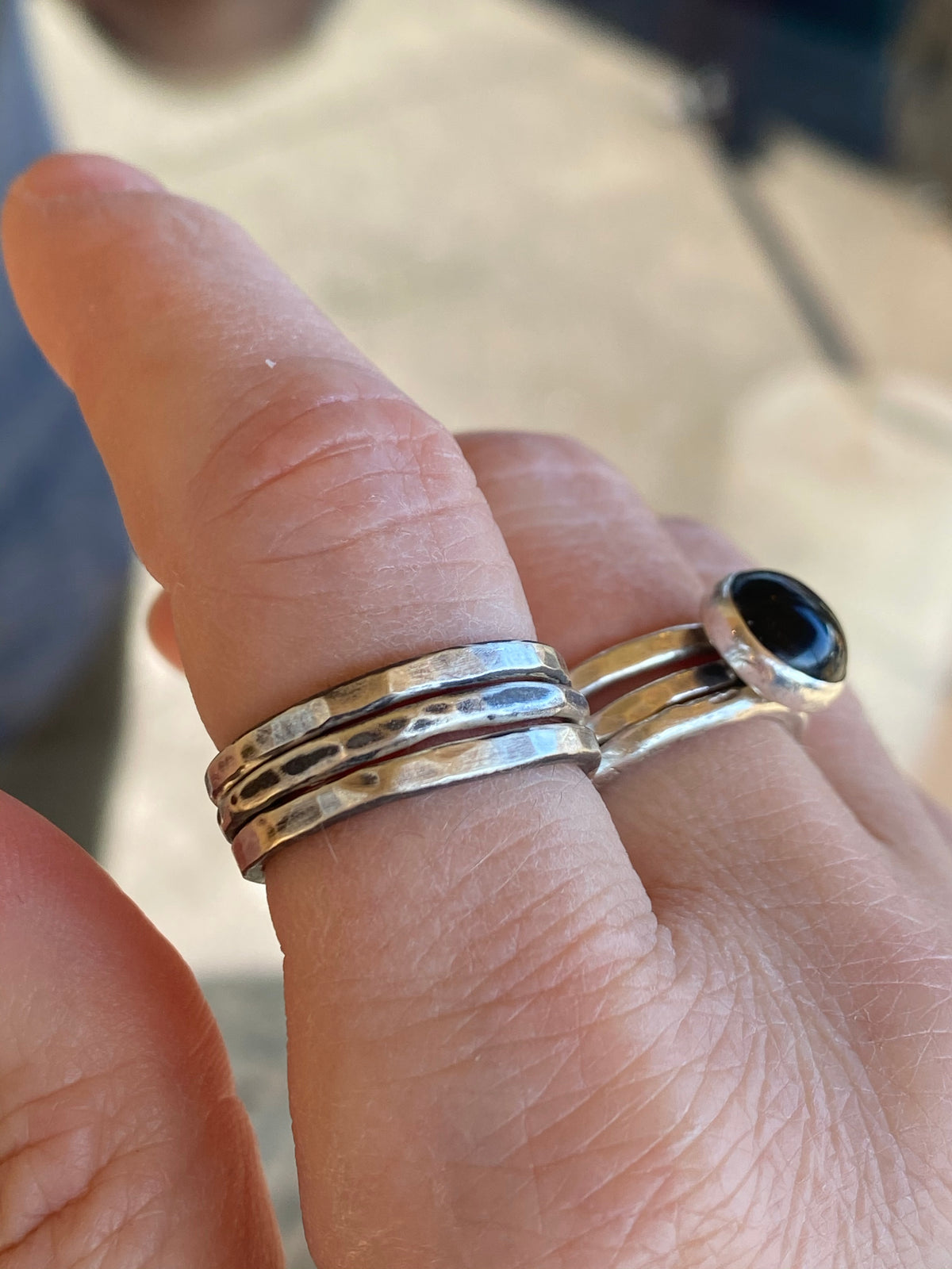 Solid Sterling Silver Stack Ring Set | Hand-Hammered