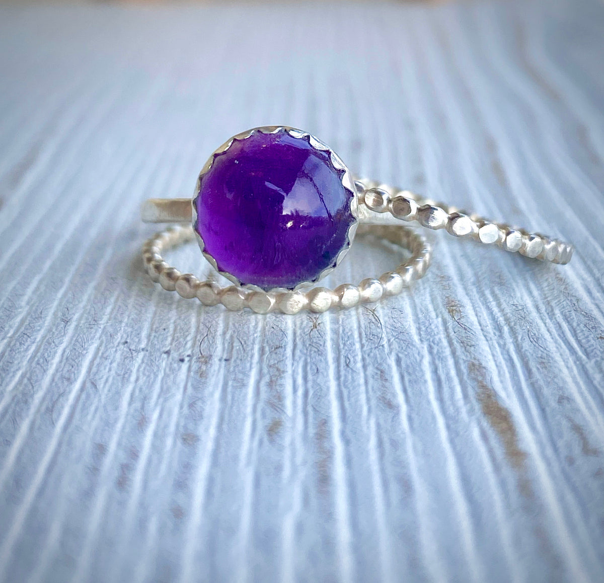 Amethyst Stack Ring Set | Hand-Hammered Solid Fine Silver