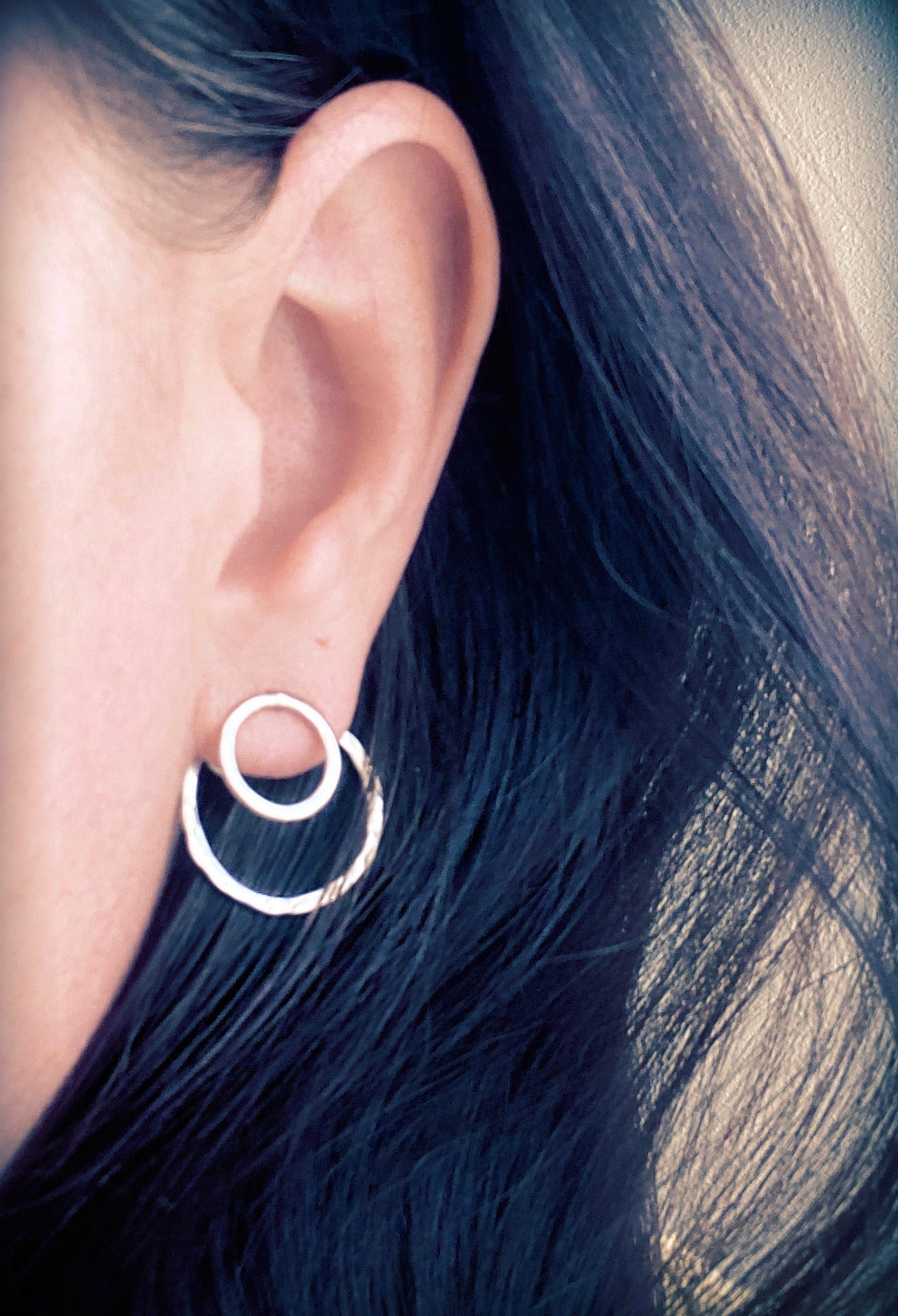 Double-Sided Circular Post Earrings | Solid Sterling Silver
