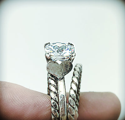 Diamond Simulant Ring Set with Fine Silver Hearts - Emz Blendz