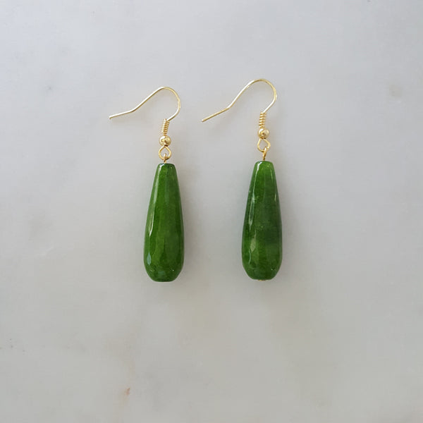 Tear Drop Jade Earrings