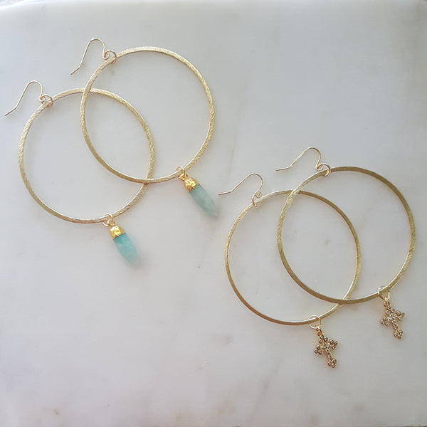 Gemstone + Cross Hoop Earrings