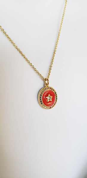 Red Star Coin Necklace