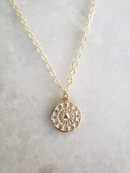 Sun Burst Coin Necklace