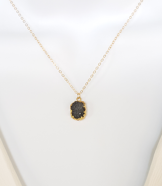 Black Druzy Agate Necklace