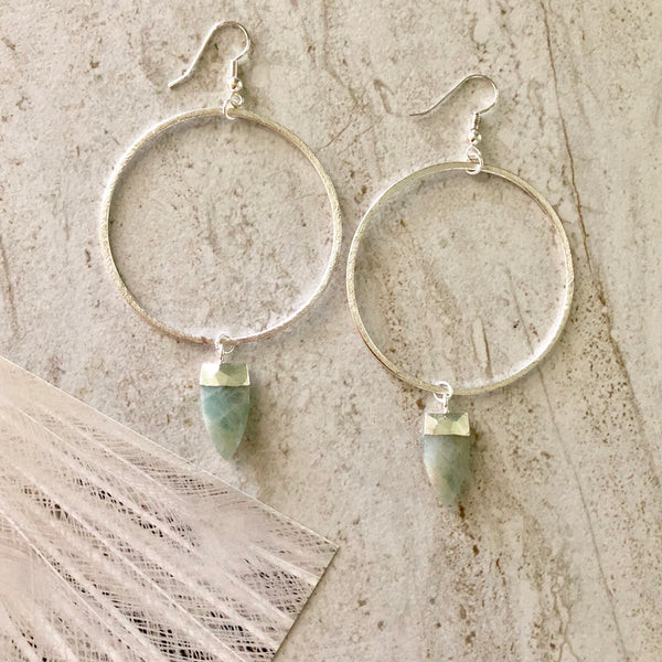 Mint Green Jade Hoops