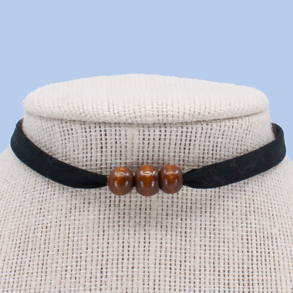 Black with Brown Beads Choker
