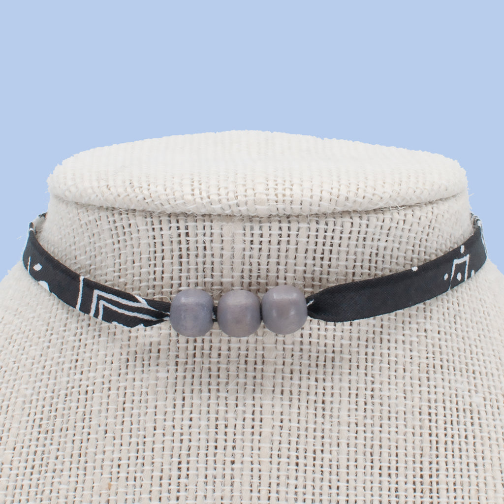 Black with Gray Beads Choker