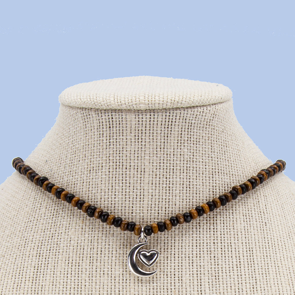 Brown and Black Candi Beads Necklace with Charm