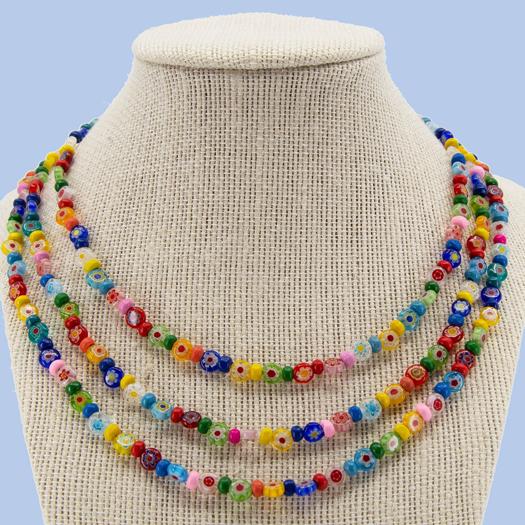 Glass Flowers with Candi Beads Necklace