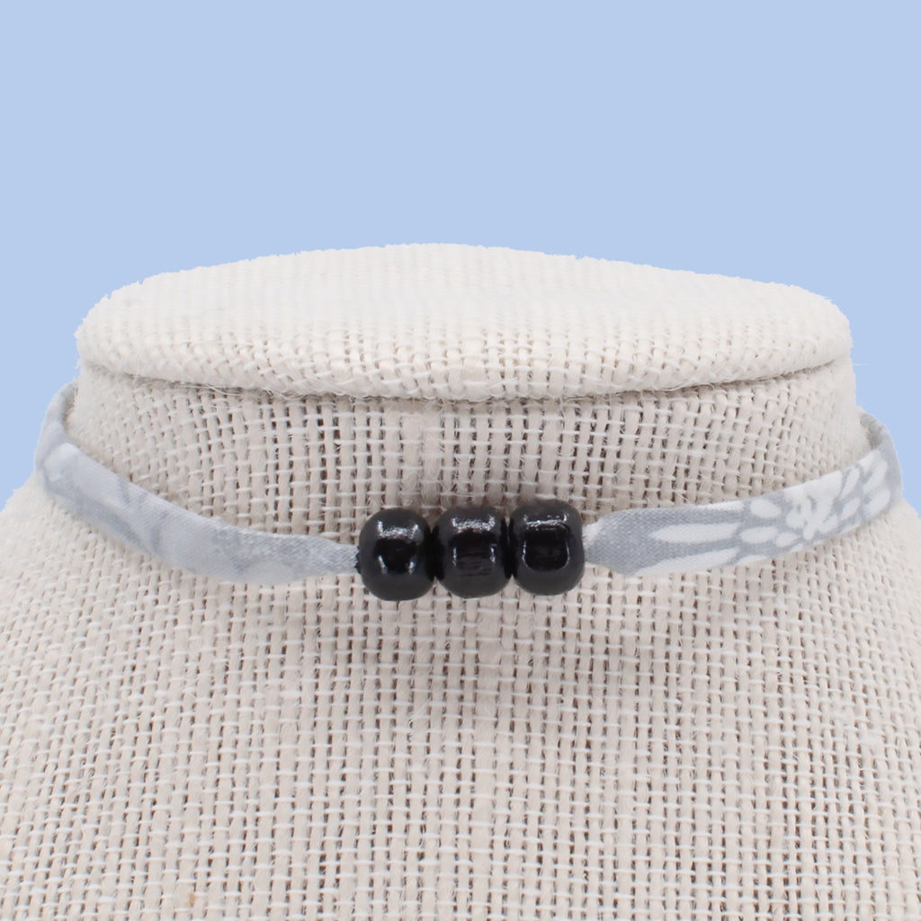 Gray with Black Beads Choker