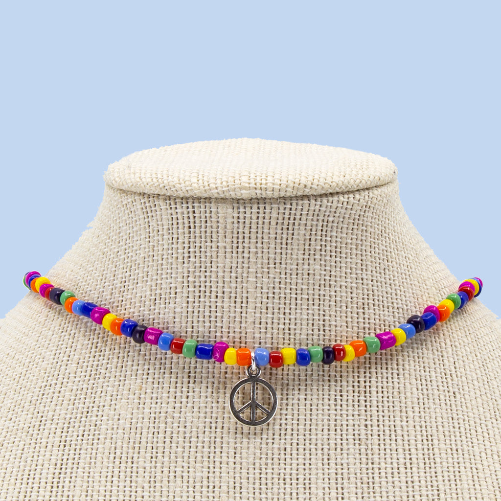 16 Inch Multicolor with Glass Candi Beads Necklace with Choose-a-Charm