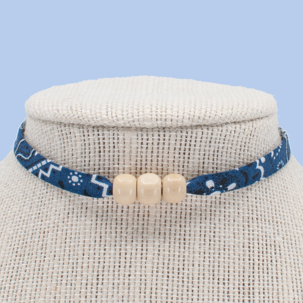 Navy with Ivory Beads Choker