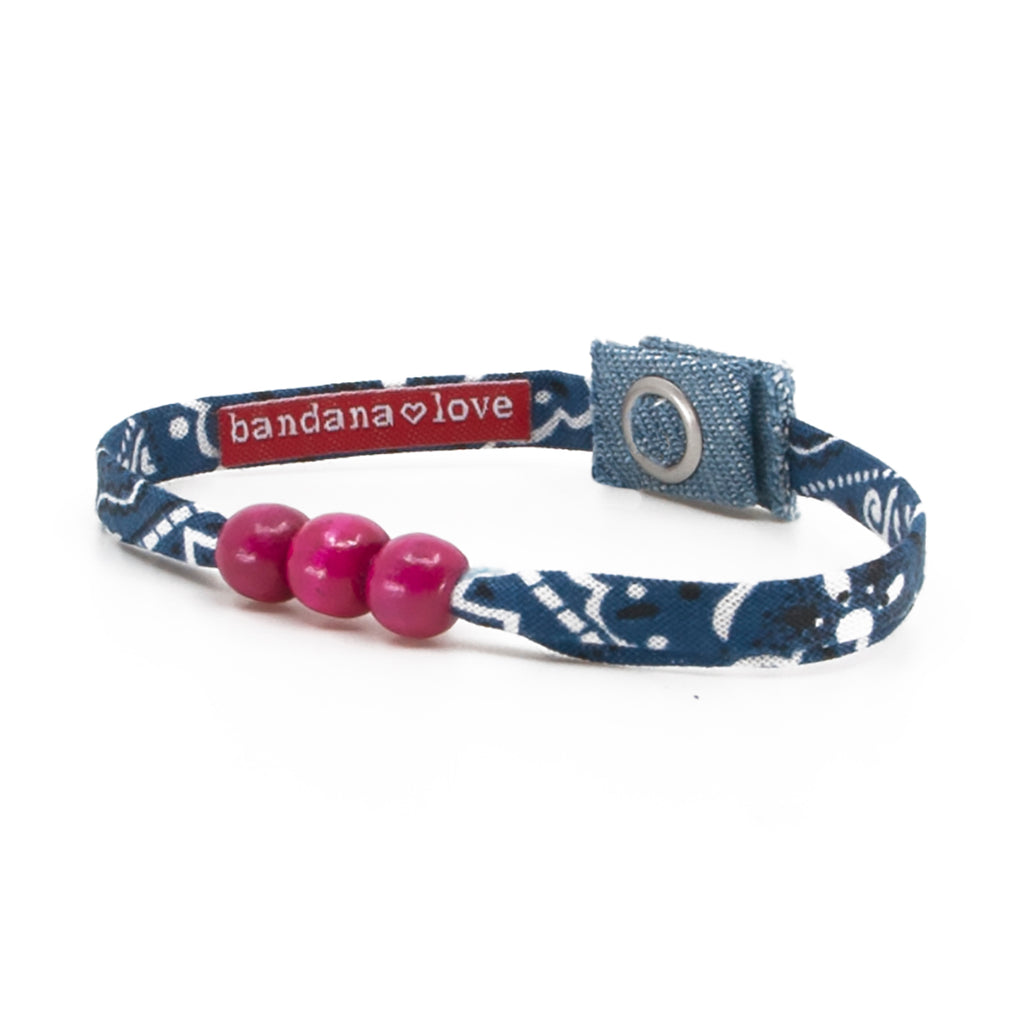 Three Beads Navy with Pink