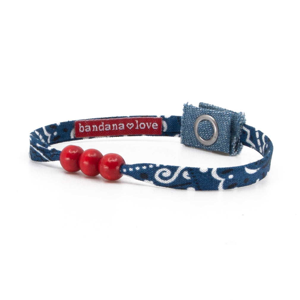 Three Beads Navy with Red