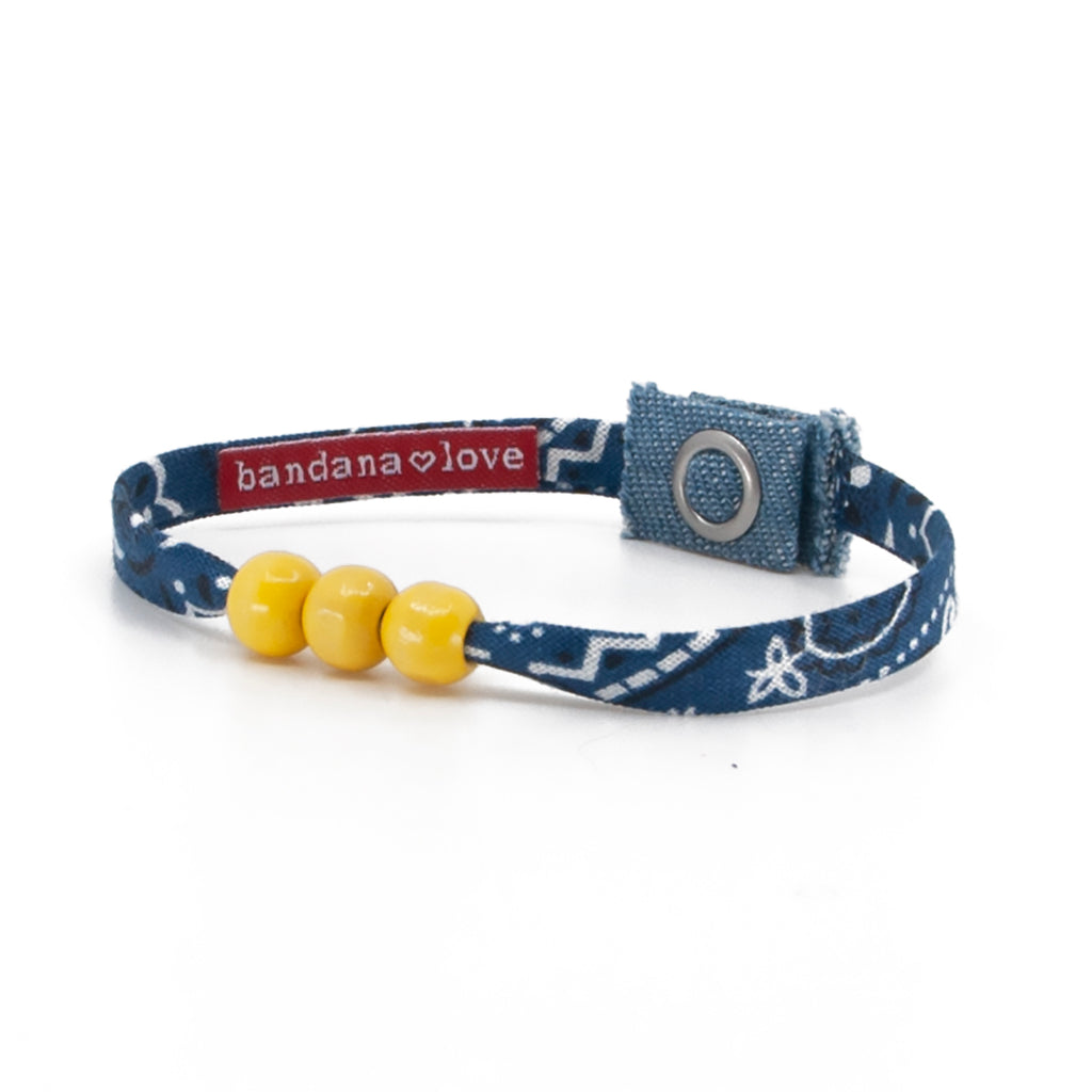 Three Beads Navy with Yellow