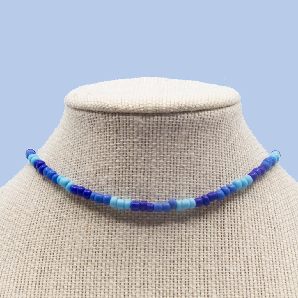 Blended Blues with Glass Candi Beads Necklace