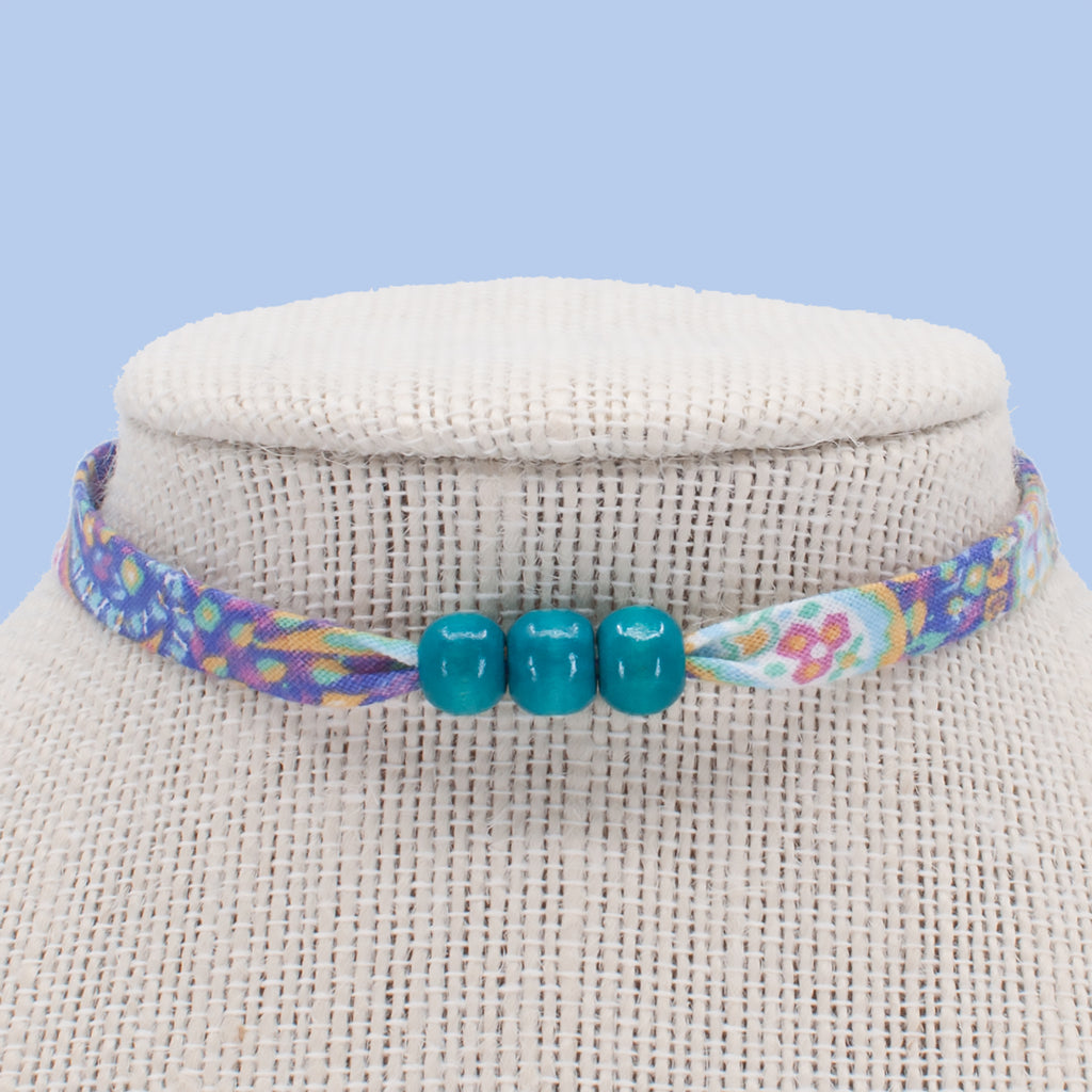 Purple Paisley with Turquoise Beads Choker