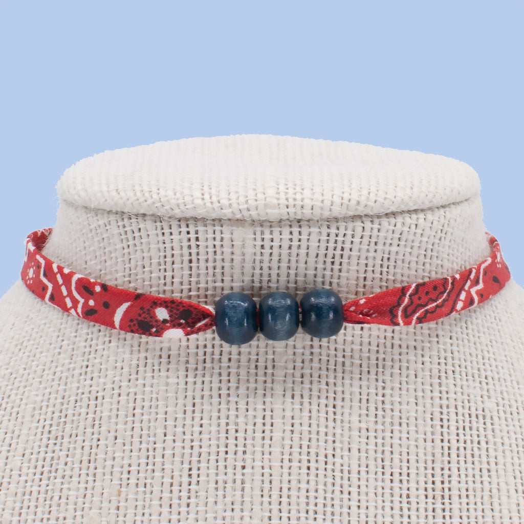 Red with Blue Beads Choker