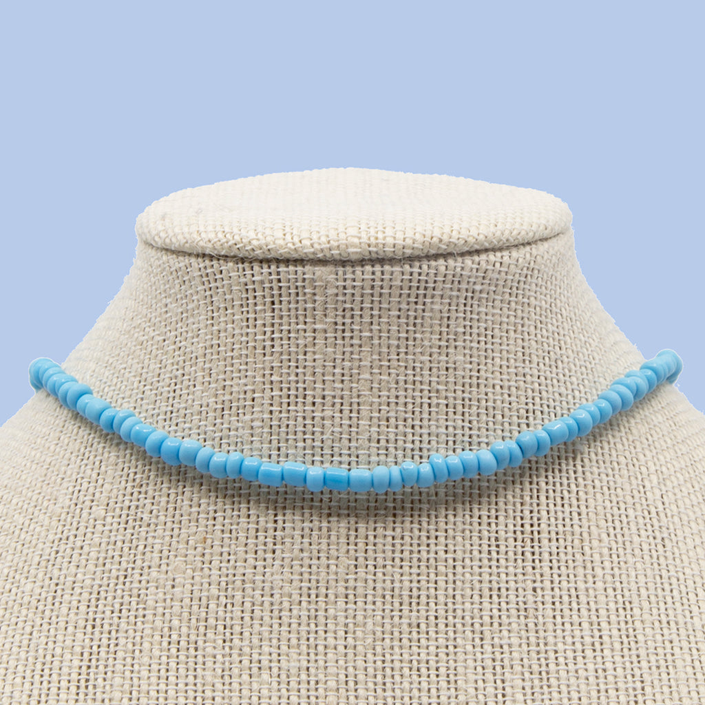 Sky Blue with Glass Candi Beads Necklace