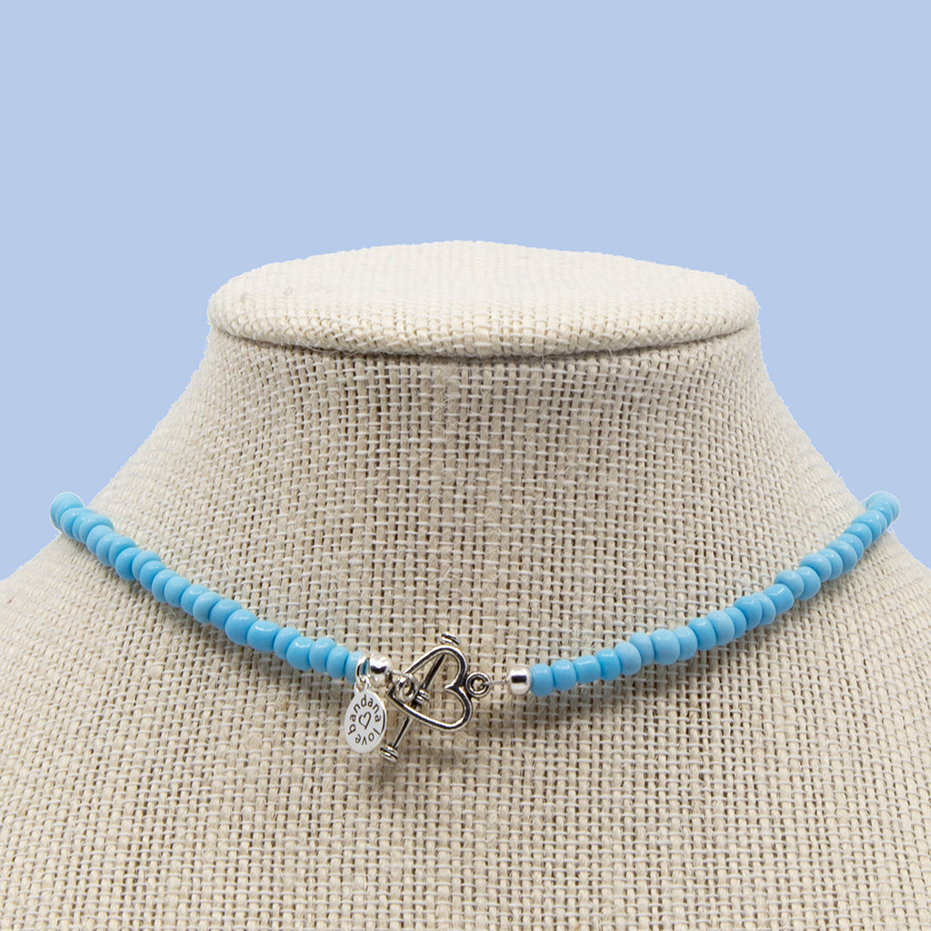 16 Inch Sky Blue with Glass Candi Beads Necklace with Choose-a-Charm