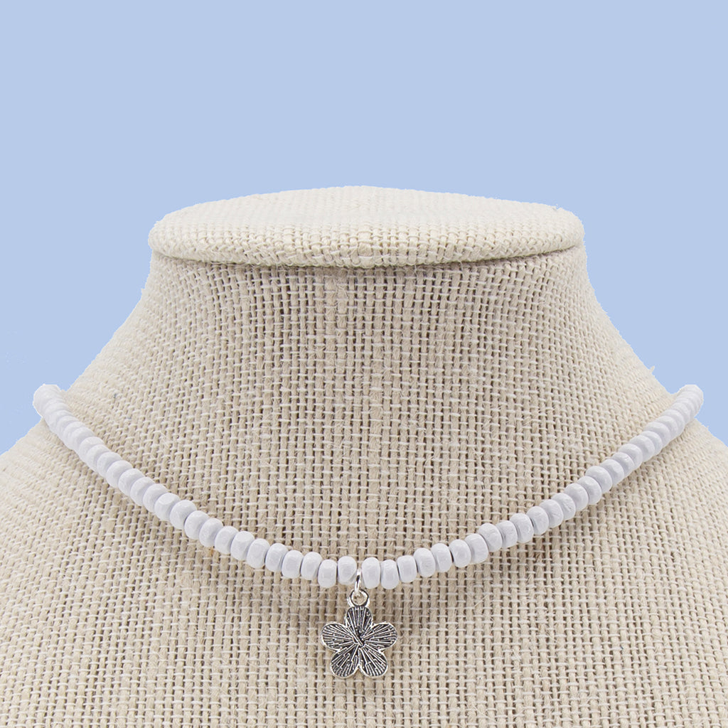 16 Inch White Candi Beads Necklace with Choose-a-Charm