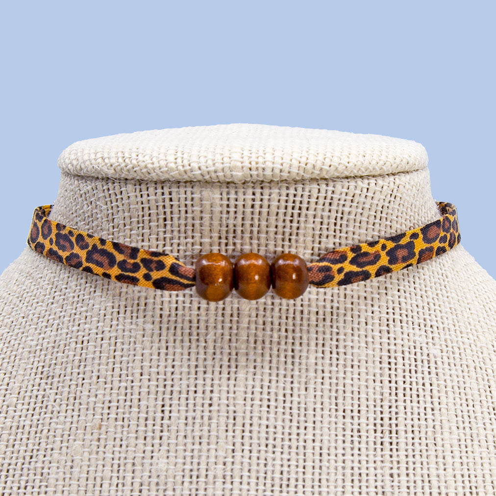 Leopard Print with Brown Beads Choker