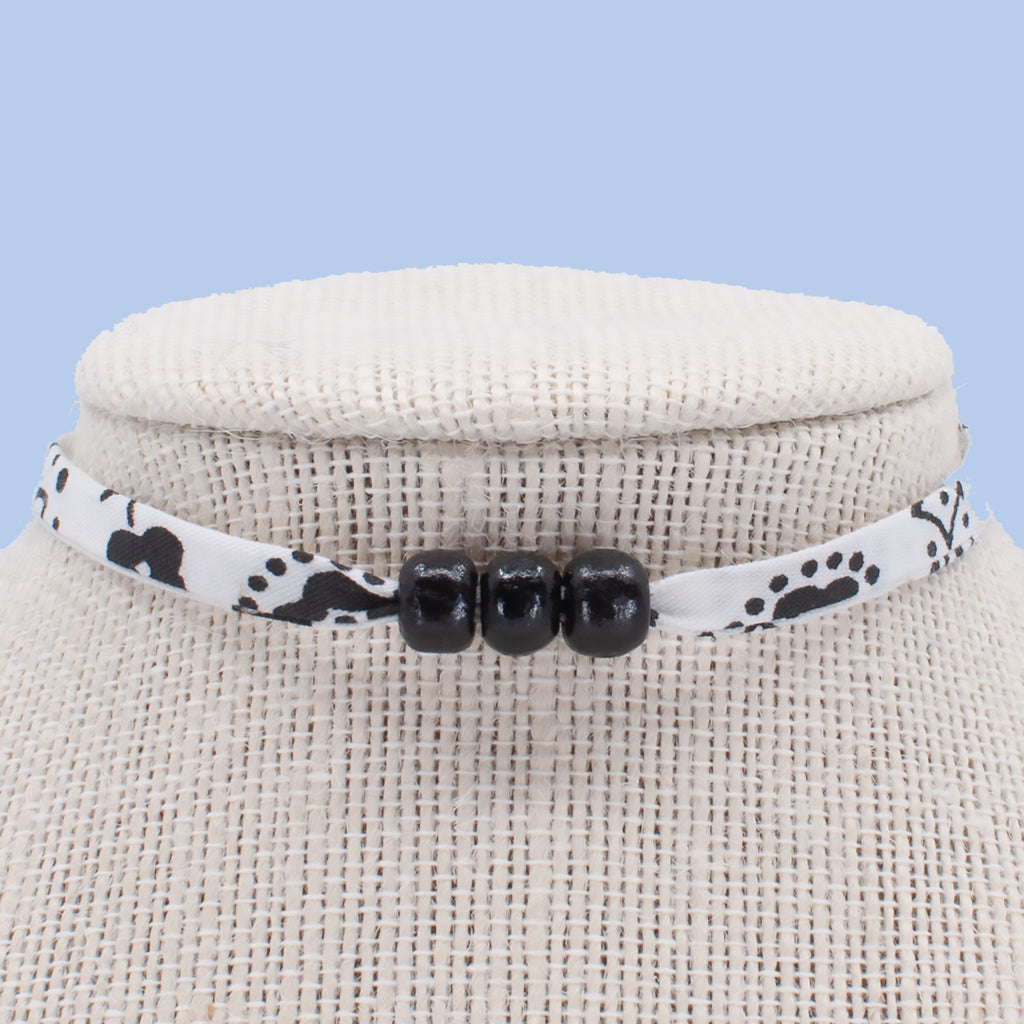 White with Black Beads Choker
