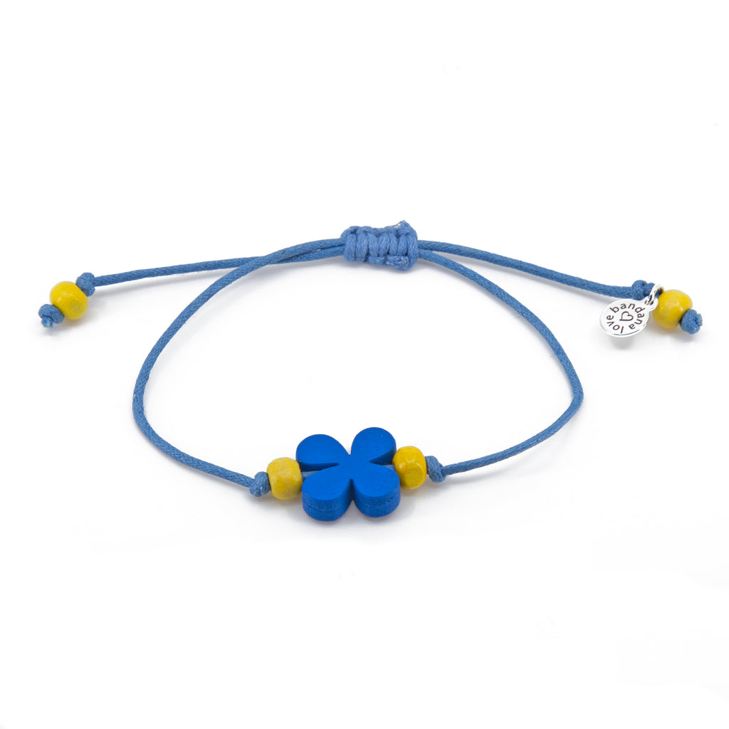 Blue Flower with Yellow Beads String