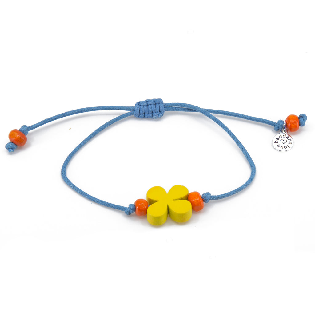 Yellow Flower with Orange Beads String