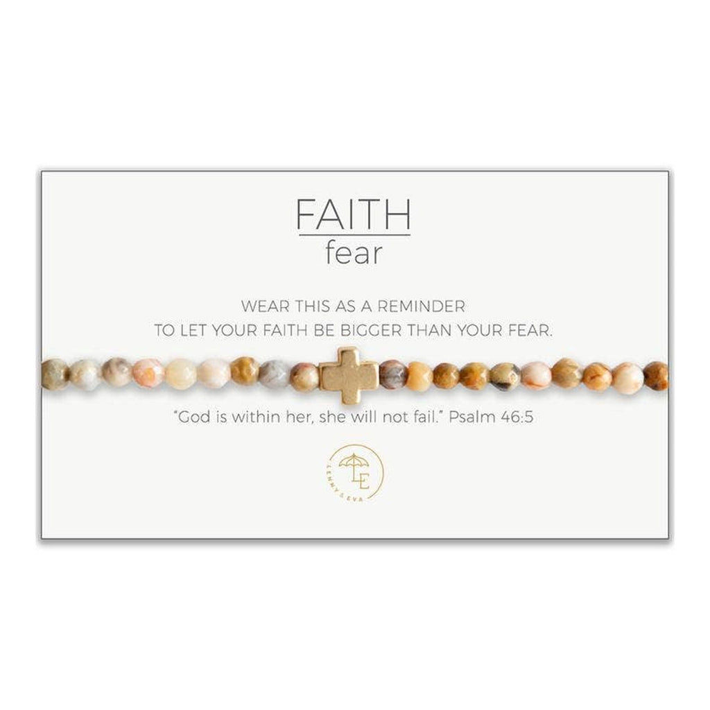 "Mexican agate multicolor beaded stretch bracelet with gold cross. Card states, ""Wear this as a reminder to let your faith be bigger than your fear."" and ""God is within her, she will not fail."" Psalm 46:5"