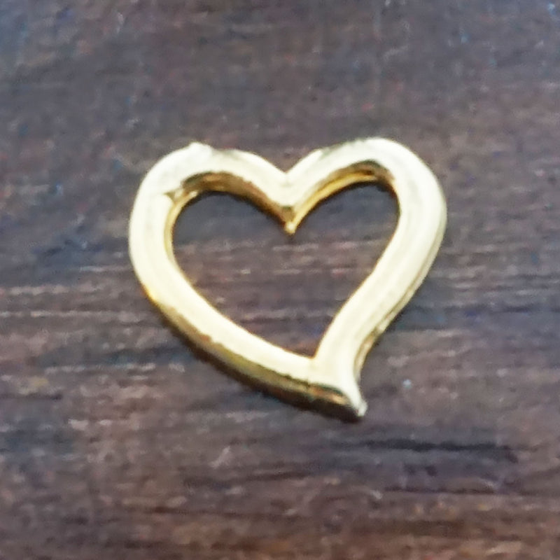 Small Open Heart - Gold Charm