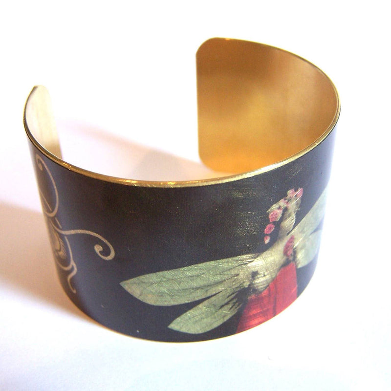 Black brass cuff with fairy design