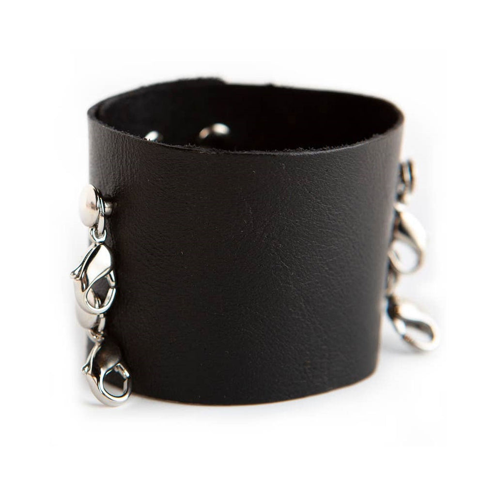 Black wide leather Lenny & Eva bracelet with silver clasps.