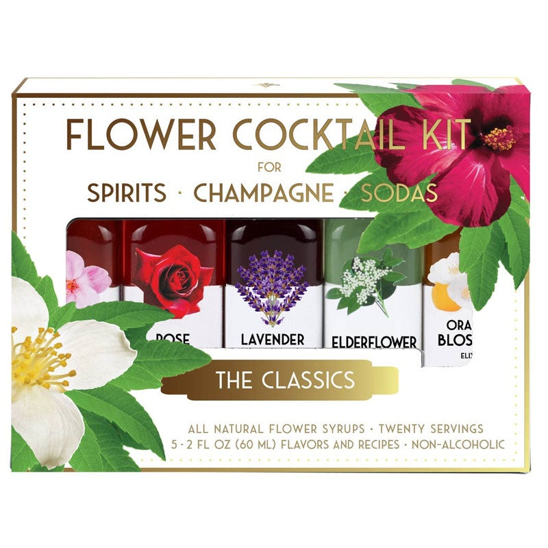 Box of The Classics Flower Cocktail Kit for spirits, champagne, and sodas