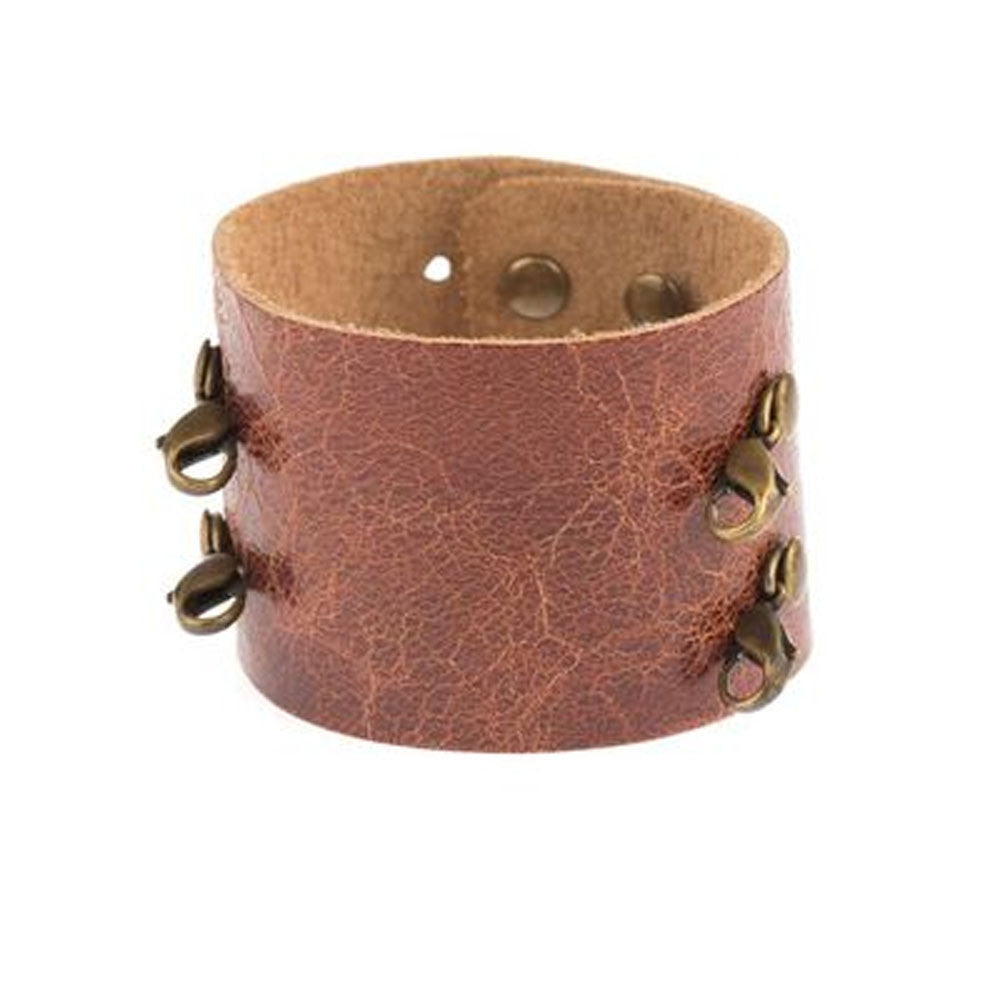 Brown Lenny & Eva brand wide leather cuff.