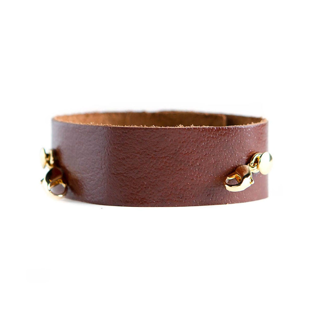 Dark chestnut thin leather cuff with gold clasps from Lenny & Eva jewelry
