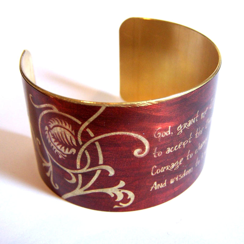 Maroon color brass cuff with serenity prayer design