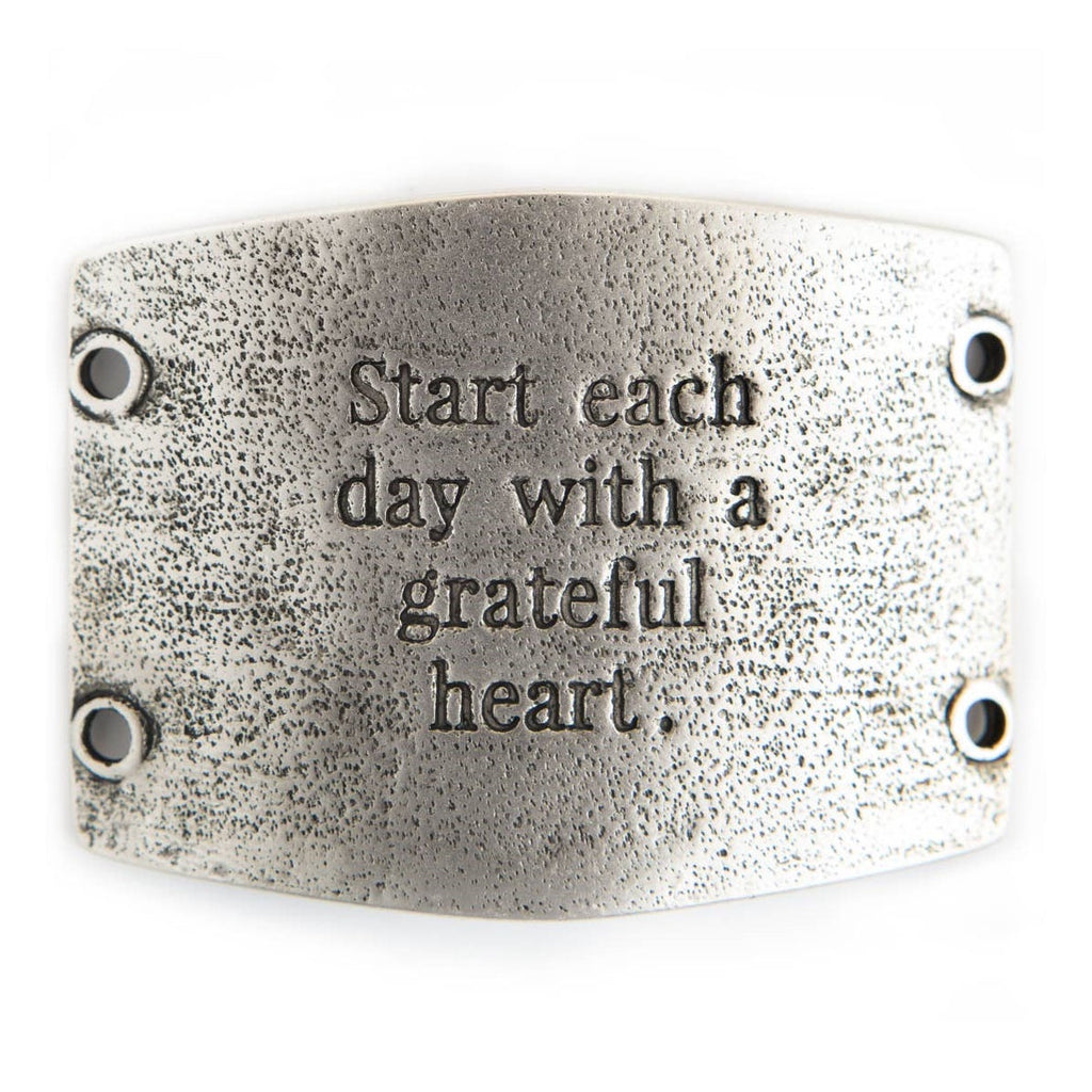 "Vintage silver Lenny & Eva bracelet sentiment that says, ""Start each day with a grateful heart."""