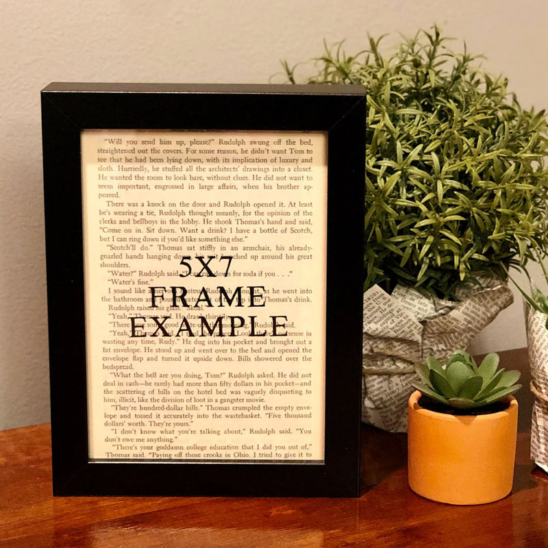 Sample showing the size of the book art and how it looks framed in a simple black frame.