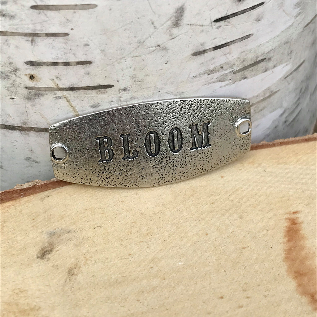 antique silver Lenny & Eva sentiment stamped with BLOOM
