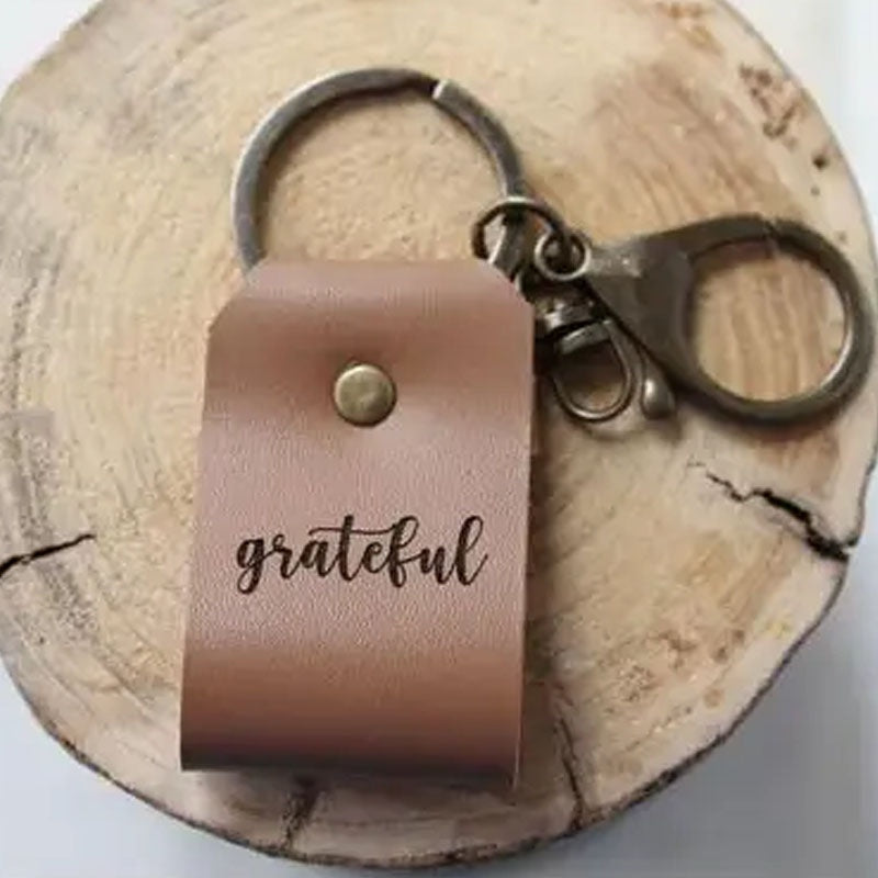 Grateful - Leather Keychain