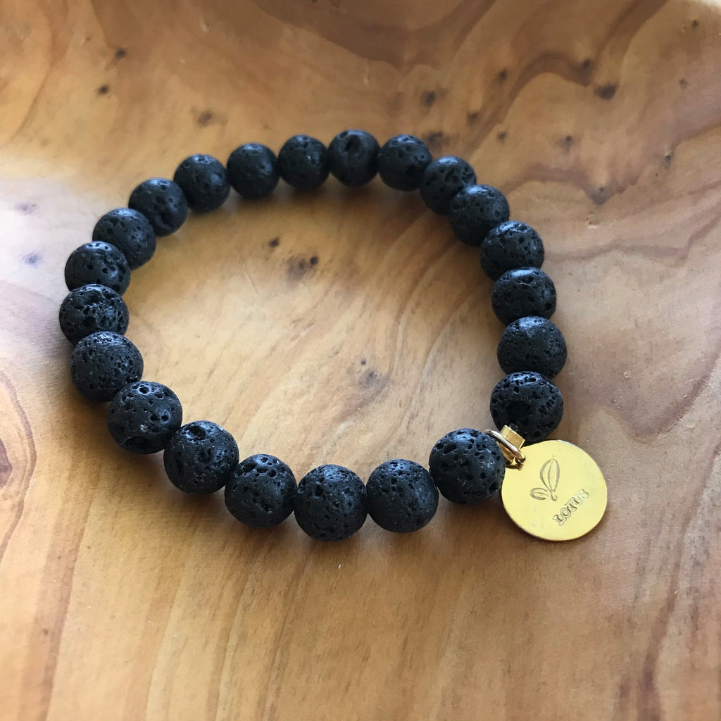 Black Lava Rock Essential Oil Aromatherapy Bracelet with Gold Charm by Lotus Jewelry Studio