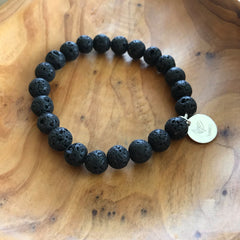 Black Lava Rock Essential Oil Aromatherapy Diffuser Bracelet by Lotus Jewelry Studio